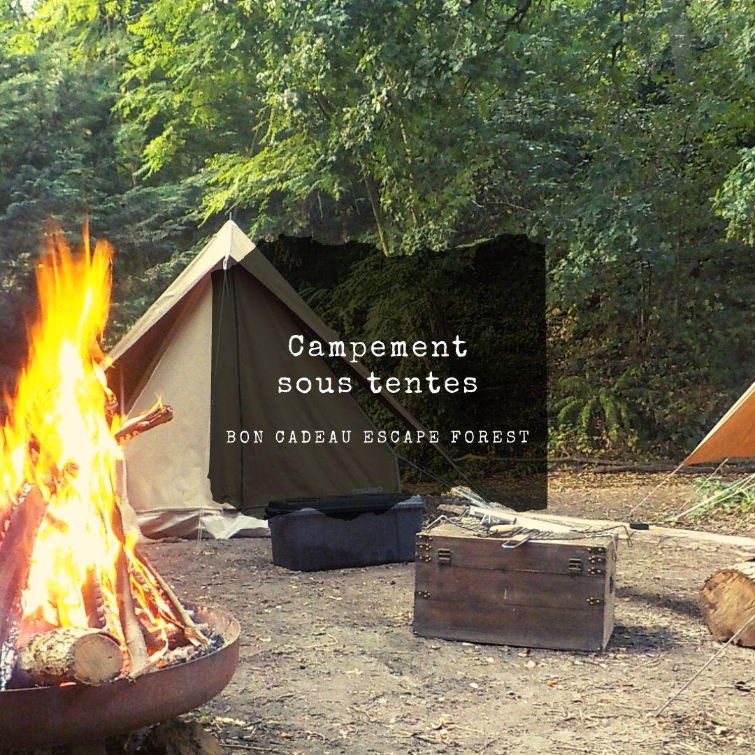 bon cadeau escape game en forêt sous tente